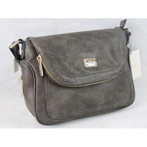 9 - Handbag. Grey with zip detailing, one handle, popper closure, internal zip pocket and two internal o...