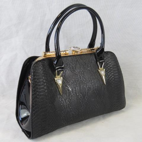 93 - Handbag. Black python effect, two handles, clasp closure, two internal zip pockets and two internal ...