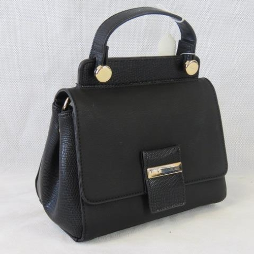94 - Handbag. Black, single handle, popper and zip closure, internal zip pocket, shoulder strap included....
