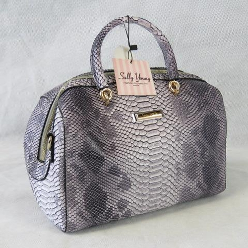 95 - Handbag. Lilac python effect, two handles, zip closure, internal zip pocket and two internal open po...