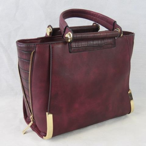 97 - Handbag, Burgundy, two handles, zip closure, two internal zip pockets and two internal open pockets,...