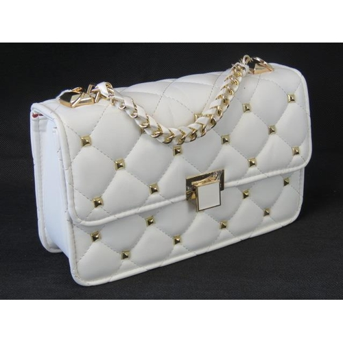 98 - Handbag. White with gold studs, single chain handle, clasp closure, internal zip pocket and internal...