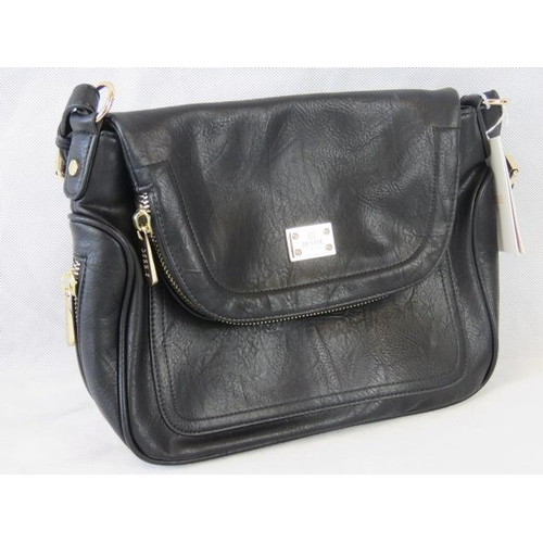 99 - Handbag. Black with zip detailing, one handle, popper closure, internal zip pocket and two internal ...