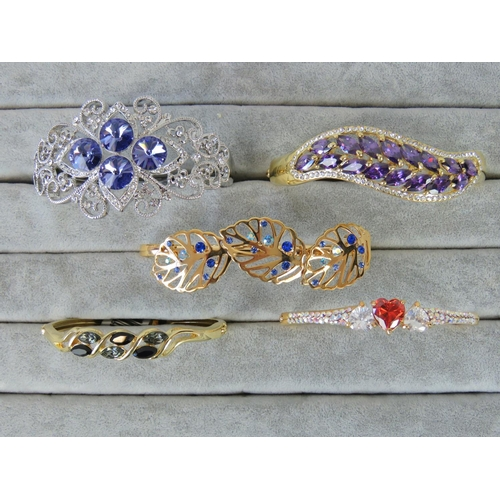 403 - Costume Jewellery. Five bangles of various styles and colours (£141.96 on labels)....
