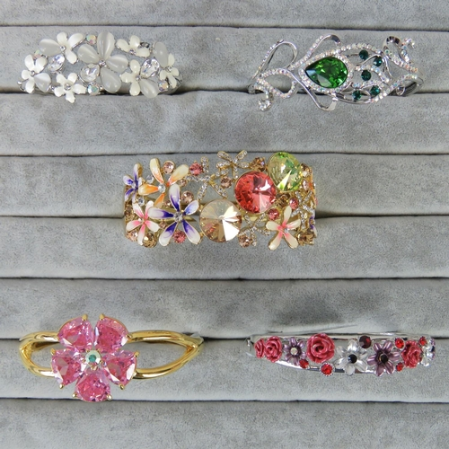 406 - Costume Jewellery. Five bangles of various styles and colours (£149.95 on labels)....