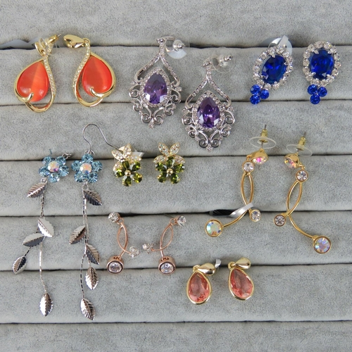 408 - Costume Jewellery. Eight pairs of earrings, variety of styles and colours (£103.99 on labels)...