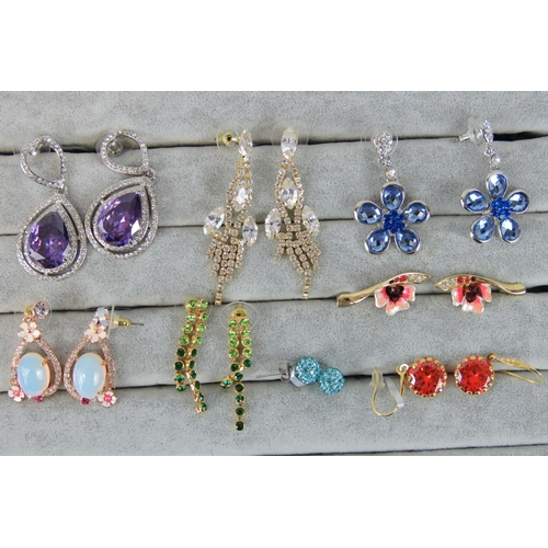 409 - Costume Jewellery. Eight pairs of earrings, variety of styles and colours (£87.99 on labels, one pai...