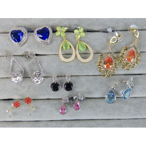 411 - Costume Jewellery. Eight pairs of earrings, variety of styles and colours (£76 on labels, two pairs ...