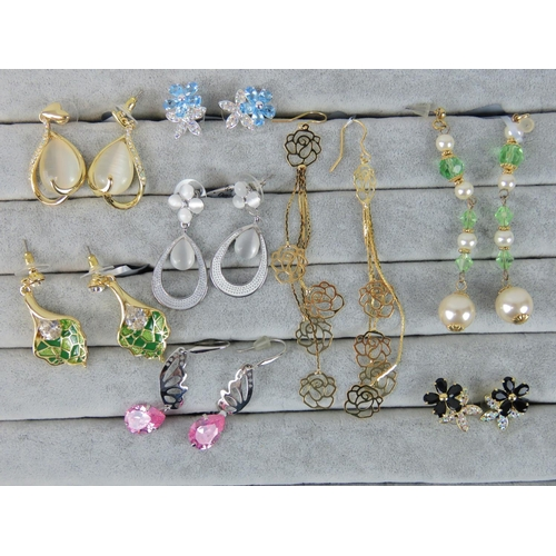 413 - Costume Jewellery. Eight pairs of earrings, variety of styles and colours (£93 on labels)...