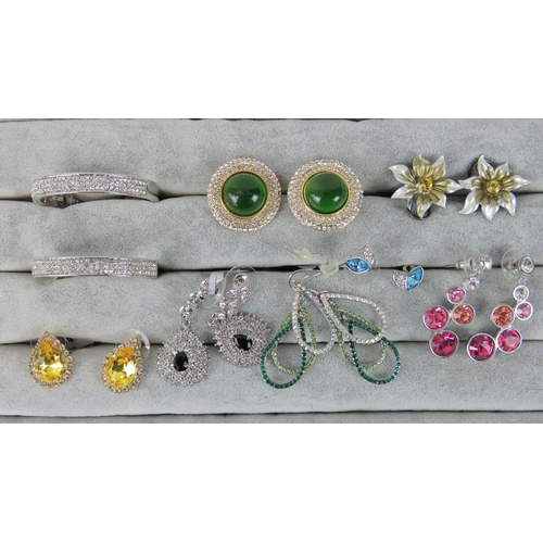 415 - Costume Jewellery. Eight pairs of earrings, variety of styles and colours (£88 on labels, one pair w...