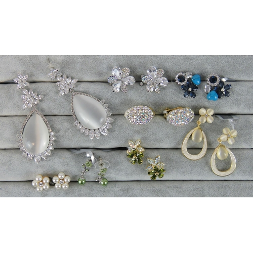 416 - Costume Jewellery. Eight pairs of earrings, variety of styles and colours (£85.99 on labels, one pai...