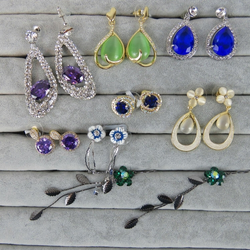 417 - Costume Jewellery. Eight pairs of earrings, variety of styles and colours (£62.99 on labels, three p...