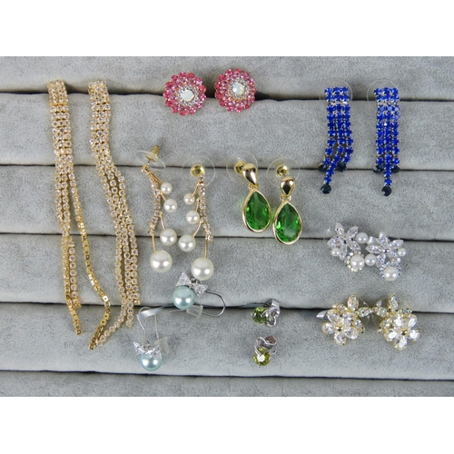 418 - Costume Jewellery. Nine pairs of earrings, variety of styles and colours (£71.99 on labels, three pa...