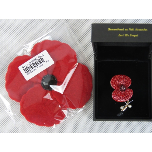 421 - Costume Jewellery. Poppy Brooch within box 'Remembered on 11th November lest we forget' together wit...