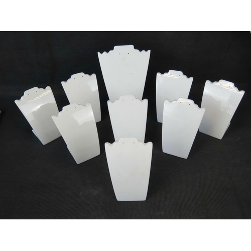 430 - Jewellery Stands. White necklace and earring stands, one large and eight small....