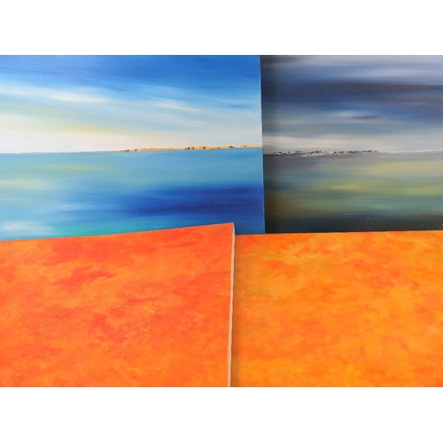 1003 - Two modern interpretations of coastlines signed ''D. Waterson'' lower right (largest 90cm x 105cm) t...