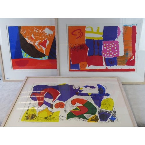 1005 - Mary Hurst, three limited edition vibrant abstract lithographs signed and numbered in pencil includi...