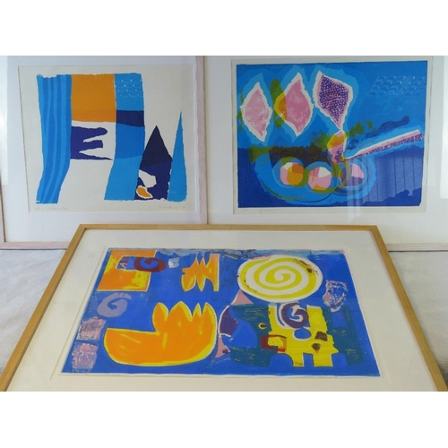 1007 - Mary Hurst, three limited edition vibrant abstract lithographs signed and numbered in pencil,  inclu...