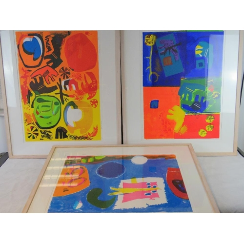1010 - Mary Hurst, three limited edition vibrant abstract lithographs signed and numbered in pencil includi...