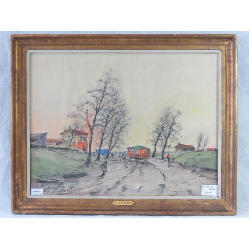 1011 - Edouard Febvre, European village lane scene, pastel, signed lower left; sight size 44cm x 58cm....