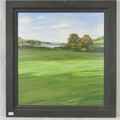 1015 - Jim Farrant, abstract impressionistic landscape with lake and trees, acyrlic, signed lower right....