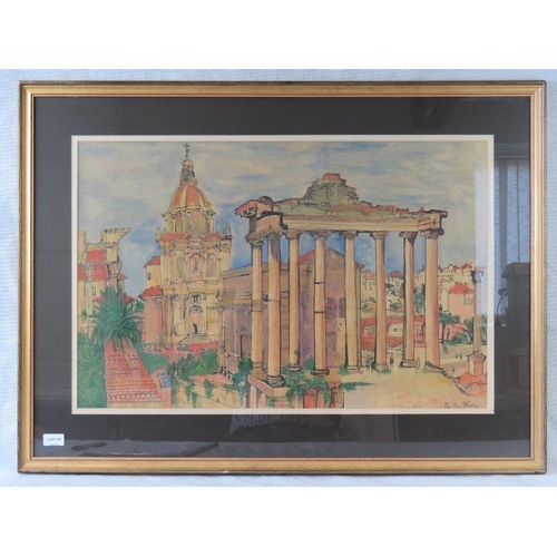 1016 - A large 20th century watercolour of the Roman Forum, initialled lower right ''K Mg''....