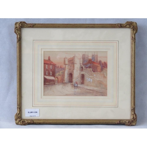 1022 - An early 20th century street scene, watercolour; indistinctly signed lower right ''..Williamson[?]''...