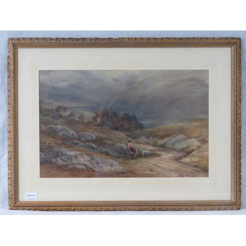 1025 - An early 20th century atmospheric landscape watercolour of with figure amongst rocky outcrops; unsig...