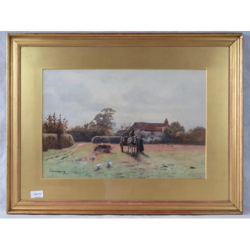 1027 - An early 20th century country scene with horse and cart; indistinctly signed and dated ''1904'' lowe...