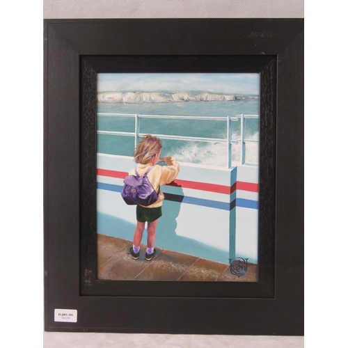 1028 - Late 20th century acylic painting of a young child looking over the side of a boat; monogram to lowe...