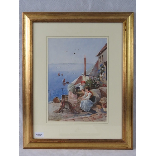 1029 - A late 19th century watercolour ''Mending the nets'' harbour scene, indistinctly signed lower right....