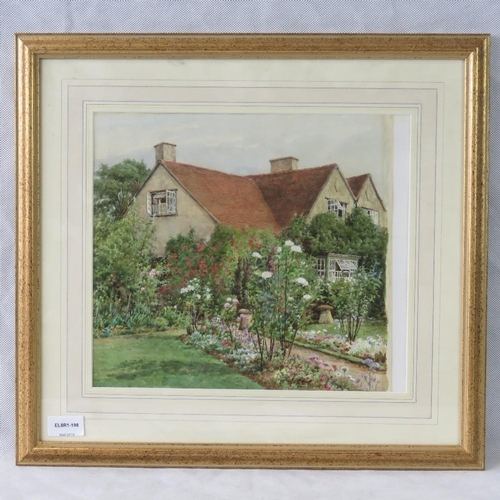 1030 - A 20th century watercolour of a cottage and country garden, unsigned....