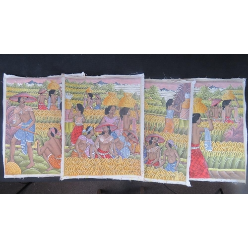 1044 - M.D. Karsa, four acrylic on canvas Balinese harvesting scenes; each roughly 53cm x 43cm....