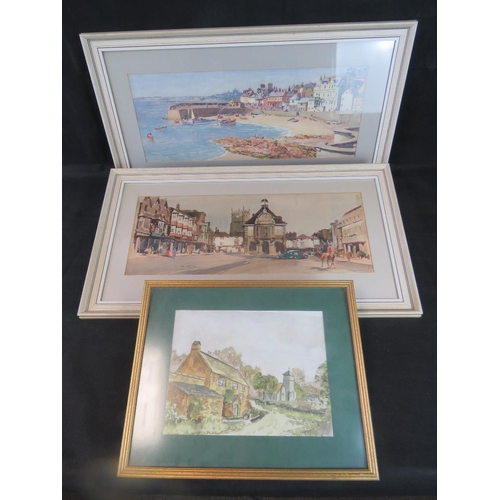 1045 - Gyrth Russell, 20th century Summer harbour scene, watercolour (sight size 20cm x 53cm) also two othe...
