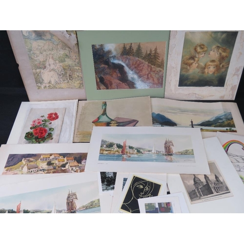 1049 - A collection of watercolours and prints by different artists....
