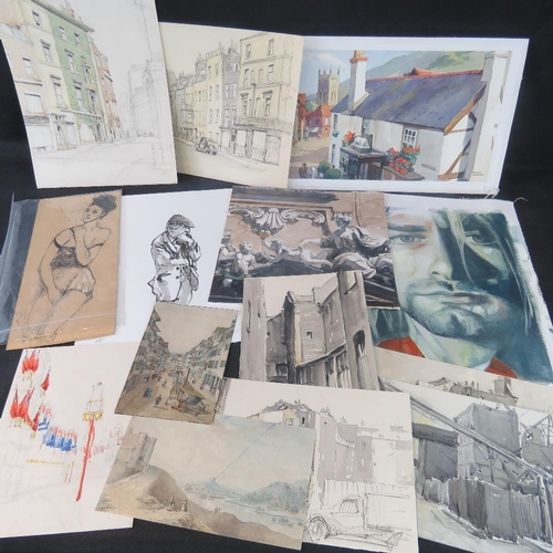 1050 - A portfolio of 20th century watercolours and sketches by various artists....