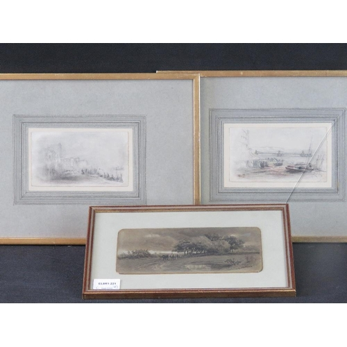 1051 - Two unsigned 19th century coastal sketches, one pencil and crayon (sight sizes 8.5cm x 15cm) also a ...