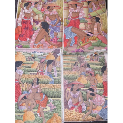 1053 - M.D. Karsa, four acrylic on canvas Balinese harvesting scenes; each roughly 90cm x 63cm....
