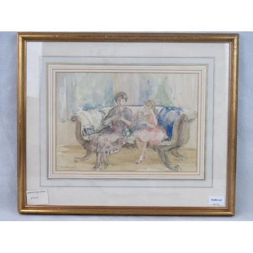 1058 - Arthur Hayward (1889-1971) A mother and daughter seated upon a settee, watercolour, signed and dated...