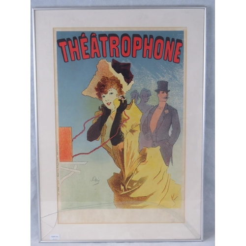 1063 - A limited edition reprint of a vintage ''Théâtophone'' poster numbered ''1052/2000''; sight size 73c...