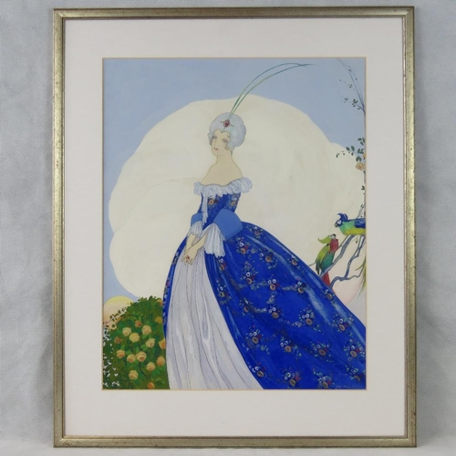 1067 - Brunelleschi, stylised 20th century portrait of a lady in a ball gown, gouache, signed lower right; ...