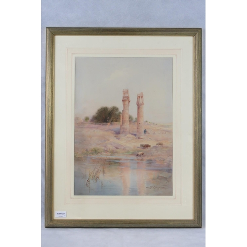 1070 - Charles Whymper (1853-1941) ancient ruins in Egypt, watercolour, signed lower right; sight size 47.5...