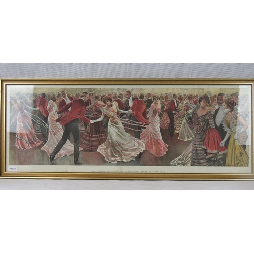 1077 - A vintage print of The Christmas Hunt Ball ''The Grand Chain'' by Lucien Davis; sight size 36cm x 10...
