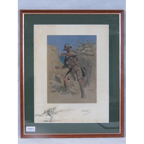 1078 - Snaffles ''Anzac'' print; unsigned; sight size 40cm x 31cm....