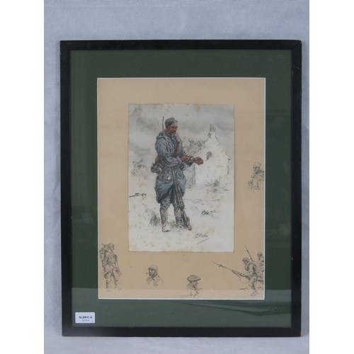 1079 - Snaffles ''Le Poilu'' print of a French soldier, unsigned; 42cm x 32cm....