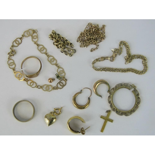 108 - A quantity of 9ct gold hallmarked jewellery including signet ring, band, three bracelets, chain a/f,...