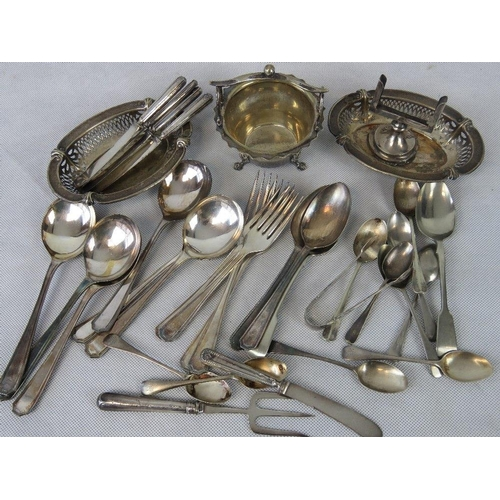 12 - A collection of silver and silver plated items including; HM silver teaspoons (4) and a calendar hol...