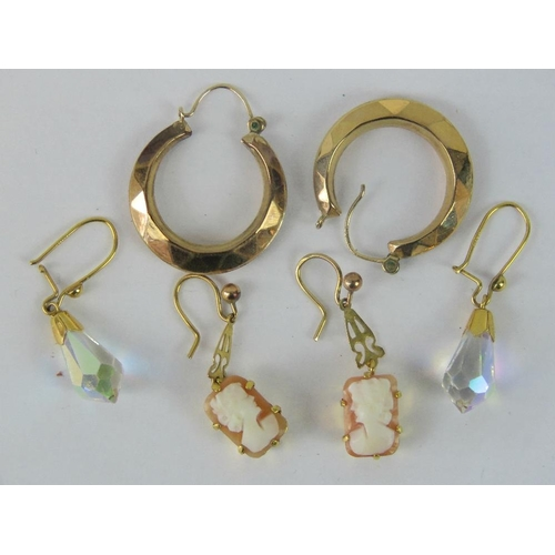 140 - Three pairs of 9ct gold earrings ; on pair of cameo drop earrings, one pair of hoops and one pair of...