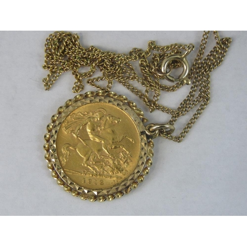 180 - A 22ct gold 1912 half sovereign in 9ct gold necklace mount with chain, 7.27g...