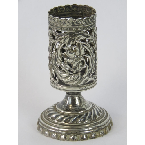 2 - An HM silver Birmingham made late 19th pierced candle holder with footed vase, 8cm high. 1.64oz....